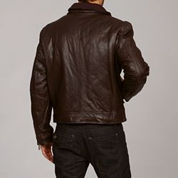 Michael Kors Mens Monroe Leather Brown Jacket L