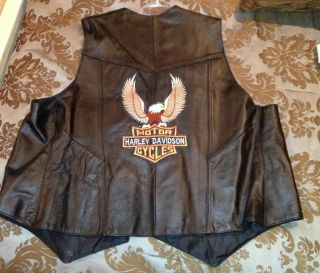 Black All Genuine Leather Mens Harley Davidson Motorcycle Vest Size