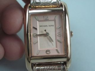 Michael Kors MK 2248 Womens Stainless Steel Pink Leather Charm 32mm