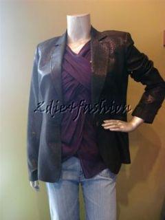 Just Cavalli Black Metallic Sheen Logo Button Lined Jacket 10