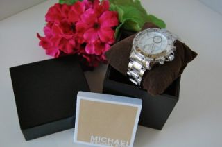 NIB MICHAEL KORS GARRETT SILVER WOMENS CRYSTAL STAINLESS STEEL WATCH