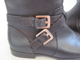 Calvin Klein Hayden Brown Tumbled Leather Tall Riding Boots Womens Sz