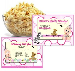 20 baby shower microwave popcorn wrappers