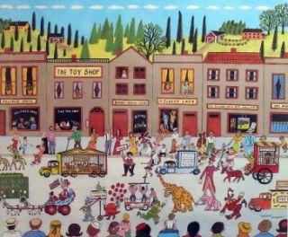 Mike Falco Parade Framed Mint Signed Lithograph RARE Circus Carnival