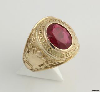 United States Army Class Style Ring 14k Yellow Gold Syn Red Spinel 15