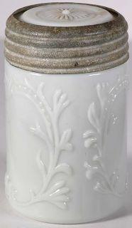 Fancy Milk Glass Fruit Jar Half Pint Mustard Jar