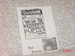 Dead Kennedys Concert Flyer New York City Orginal Authentic