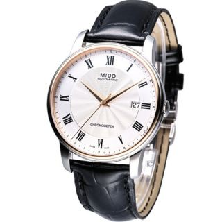 Mido Baroncelli Automatic Cosc Leather Strap Watch White 18K Gold