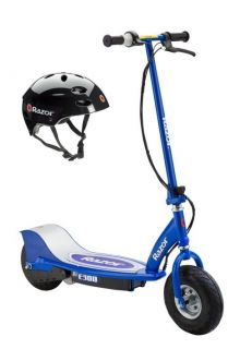 Razor E300 Electric Motorized Scooter Blue Youth Helmet Black