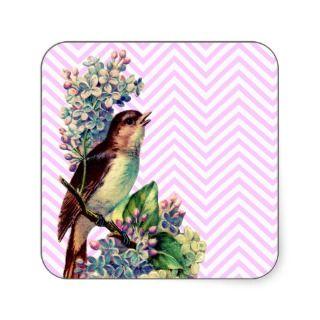 Cute Brown White Bird And Flowers on Pink Chevron Sticker