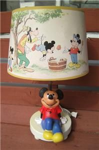 DISNEY MICKEY MOUSE SITTING TABLE LAMP NIGHT LIGHT + SHADE HOME DECOR