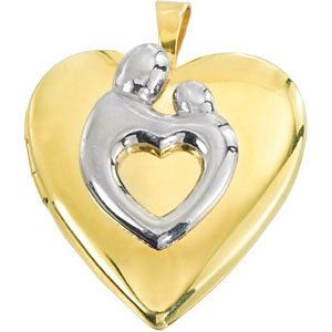 Mother Child Locket Polished Sterling Silver and Gold Filled 22mm x 19