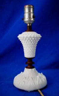 Antique Vintage Milk Glass Table Lamp Light W/ Unique Organic Flame