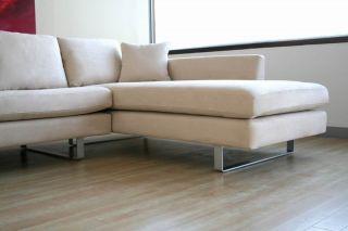 Elena Contemporary Cream Microfiber Sectional Sofa
