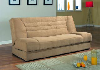 Tan Microfiber Futon Storage Sofa Bed Couch Bedroom New