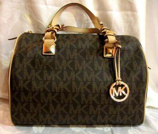 Michael Kors Satchel Brown MK Logo Print Grayson Large Handbag MSRP$