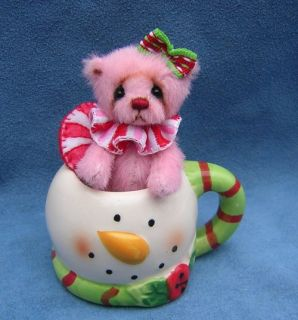 Mina Miniature Mini Christmas Teddy Bear by Nancy McNally OOAK