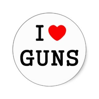 love Guns heart custom personalized Round Stickers