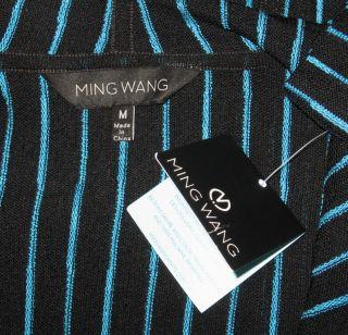 Ming Wang Black Riviera Pinstripe Cardigan Jacket