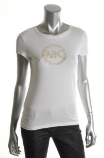 Michael Kors New White Cotton Embellished Signature Logo Casual Top