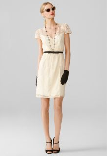 Milly Camellia Ivory White Floral Lace Emilie Faux Wrap Dress 6 UK 10