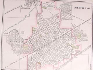1895 Large Antique Map Birmingham Alabama City Streets