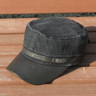 Mens Distressed Military Army Cadet Hat Cap Black