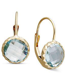 14k Gold Earrings, Bezel Set Blue Topaz Drop (4 3/4 ct. t.w