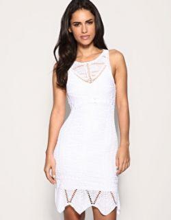 Karen Millen Dress White Fine Crochet Lace Belted Mini Party New