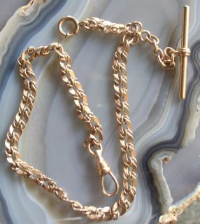 Antique Gold Pocket Watch Chain with T Bar and Fob Extender 2