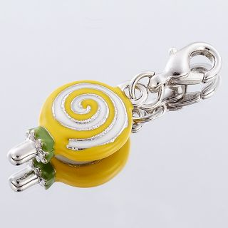Childish Yellow Wave Board Sugar Bracelet Charm White Gold Plate