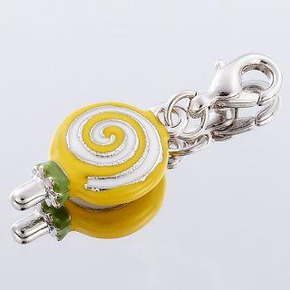 Childish Yellow Wave Board Sugar Bracelet Charm White Gold Plate