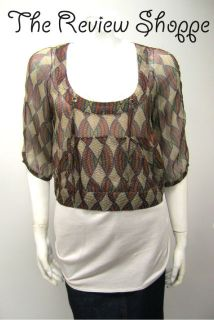 Mike Gonzalez 2 Piece Sheer Multi Colored Cropped Blouse w/ Tank 4 NWT