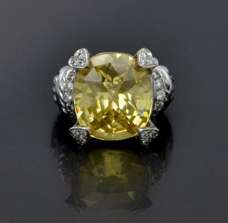 Judith Ripka 18K Solid White Gold Diamond Large Citrine Pave Size 6