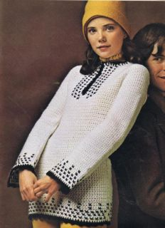 70s CROCHET PATTERNS TUNICS SLIPONS SWEATERS CARDIGAN COLUMBIA MINERVA
