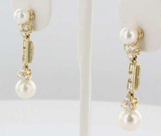 Mikimoto 18K Yellow Gold Diamond South Sea Pearl Drop Earrings Fine