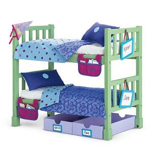 American Girl Retired Camp Bunk Bed Set with Comforters Pillows Etc