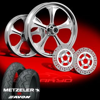 Adrenaline Chrome 21 Wheels Tires Dual Rotors for 2009 13 Harley