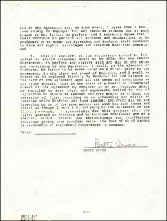 Bette Davis Contract Signed 11 21 1981