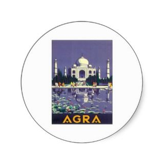 Vintage Taj Mahal Agra India Travel Poster Art Stickers