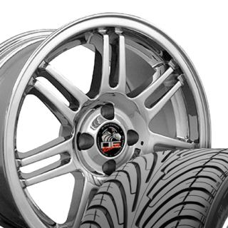Chrome 10th Anniversary 4 Lug Wheels ZR Tires Rim Fits Mustang® GT