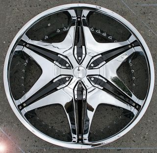Akuza Big Papi 712 24 Chrome Rims Wheels Nissan Titan Truck
