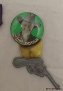 Vintage Hopalong Cassidy Pin Backs Buttons with Gun