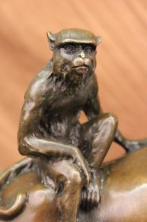 Signed Milo Monkey on My Back Horse Bronze Sculpture Statue Figure
