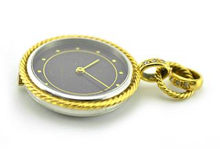 Bucherer 18k Solid Yellow Gold & Diamond Pendant Watch For Necklace