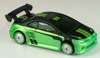 Hot Wheels Green 2012 HONDA CIVIC Si Rubber Tires Diecast vehicle #13