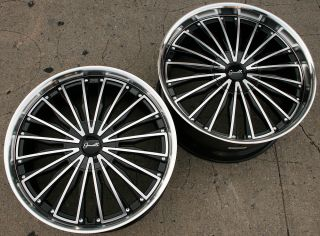 GIANELLE TRENTINO L2 22 BLACK RIMS WHEELS LEXUS LS460 / 22 X 9.0/10.5