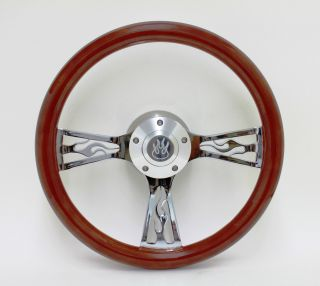 14 Flame Wood Wheel Set w/ Flame Horn 4 Chevy Jeep GMC Chevrolet