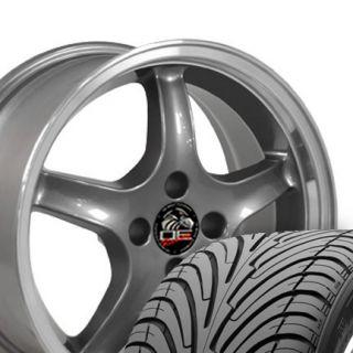 17 Cobra 4 Lug Wheels Gunmetal Set of 4 Rims Fit Mustang® GT