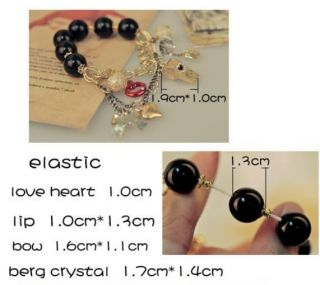 New Hot Fashion Gold Bowknot Whistle Lips Heart Tassel Black Pearl